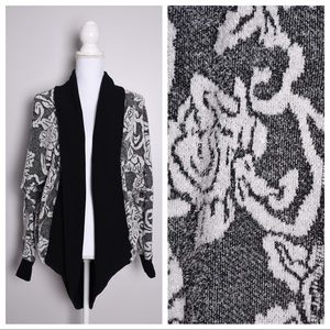 Xhilaration Floral Fuzzy Open Front Cardigan